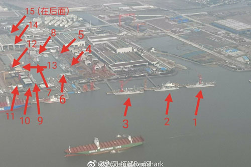 Photo reveals 15 destroyers, 1 aircraft carrier under construction in Chinese shipyard