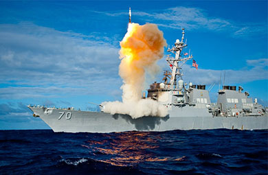 Pro-U.S. states with ballistic missile defense systems surround Syria