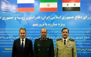 The defense ministers of Russia, Iran and Syria met in Teheran on June 9. They are from left, Sergei Shoigu, Brigadier Gen. Hossein Dehqan and Fahd Jassem al-Freij. /IRNA