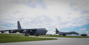 A B-52 Stratofortress, left to right, B-1 Lancer and B-2 Spirit share the flight-line at Andersen Air Force Base, Guam, Wednesday, Aug. 10, 2016. Secretary of the Air Force Deborah Lee James said this marks the first time in history all three bombers have been in the U.S. Pacific Command area of responsibility at the same time.  /U.S. Pacific Command