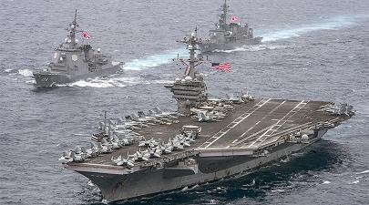 Japan joins U.S. in first naval combat formation since World War II