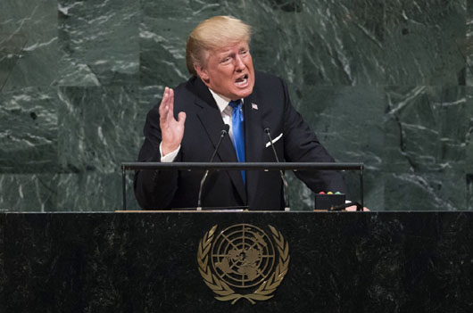 U.S. President Donald Trump addresses the UN General Assembly. / Getty Images